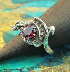 Silver Curled Dragon Ring with Gemstone by martymagic on Etsy, $265.00