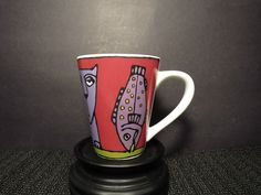 Coffee Mug Ursula Dodge Bad Cat Collection Kitty and Fish Cup 4 1/2 Tall