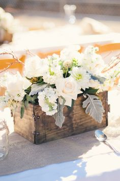 Perfect rustic centerpiece. Photo by Honey Honey Photography. www.wedsociety.com #wedding #centerpiece #rustic
