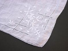 Vintage embroidered handkerchief - I own a set of these. Beautiful!