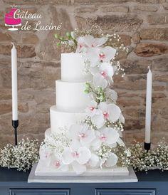 Orchid wedding cake by Gâteau de Luciné Extravagant Wedding Cakes, Unusual Wedding Cakes, Black Wedding Cakes, Wedding Cake Photos, Wedding Cake Rustic, Elegant Wedding Cakes, Beautiful Wedding Cakes, Beautiful Cakes, Boho Wedding