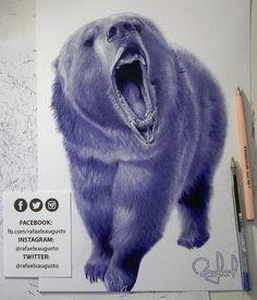 100% Bear. [S16X32:40] Drawing #Ink #Bear #Grizzly #rafaelxaugusto