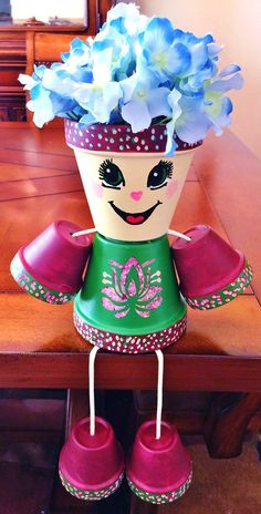 Wine Maroon Green Pink Candy Flower Dots Clay Pot Head People Terra Cotta