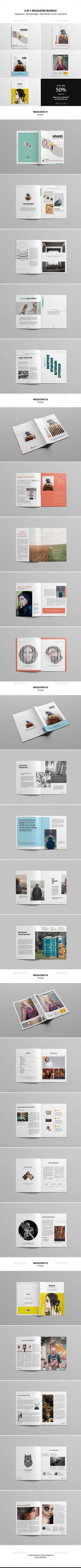 5 in 1 Magazine Bundle Templates InDesign INDD #design Download: http://graphicriver.net/item/5-in-1-magazine-bundle/13714141?ref=ksioks