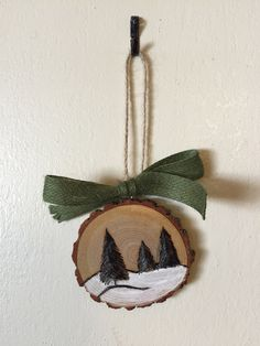 Wood Slice Ornament, Winter Scene Ornament, Wood Burning, Hand Painted Ornament – Candle Making Easy Christmas Ornaments, Rustic Christmas, Christmas Tree Decorations, Christmas Crafts, Hand Painted Ornaments, Wood Ornaments, Ornaments Design, Winter Szenen, Wood Slices