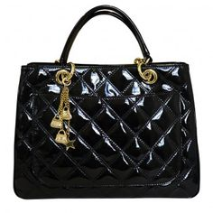 Designer Chanel Style Quilted Leather Grab Handbag front patent