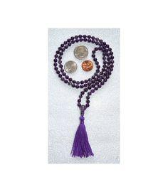 108 Amethyst Hand Knotted Mala Beads Necklace-Blessed & Energized Karma Nirvana Meditation 8 mm Prayer Beads For Awakening Chakra Kundalini