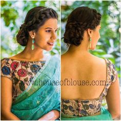 Stylish saree blouse designs prominent the looks of the wearer. For a classy and sophisticated look, try these blouse designs for wedding season. Kalamkari Blouse Designs, Designer Blouse Patterns, Fancy Blouse Designs, Kalamkari Blouses, Latest Blouse Designs, Dress Designs, Sari Design, Choli Designs, Blouse Back Neck Designs