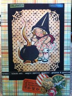 Halloween Card Vintage with October Afternoon Witch Hazel, Prima and Graphic 45 and Martha Stewart Spider Web punch