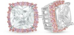 Zales 7.0mm Cushion-Cut Lab-Created White and Pink Sapphire Frame Stud Earrings in Sterling Silver and 18K Rose Gold Plate