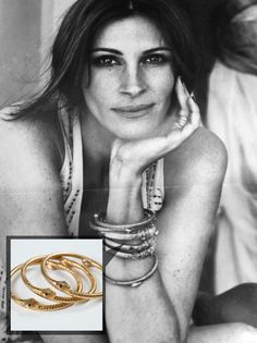 Julia Roberts wearing SKOVA karma bracelets in ELLE magazine