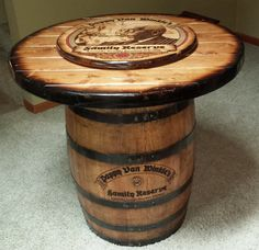 Pappy Van Winkle barrel table for rustic home bar by WhiskeyCartel