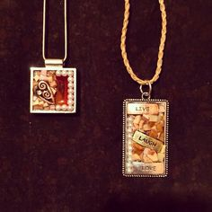 Two mosaic pendant favorites I created....These are selling so quickly. I think everyone likes how versatile they are....