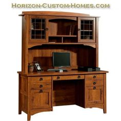 Details about amish large corner computer desk hutch bookcase home office solid wood furniture - Mission style computer desk with hutch ...