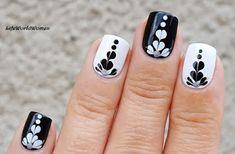 Life World Women: Black & White Dry Marble Nails With Hearts Shaped Pattern Using Needle & Dotting Tool Heart Nail Designs, White Nail Designs, Nail Designs Spring, Nail Art Designs, Nail Art Hacks, Nail Art Diy, Easy Nail Art, Diy Nails, Shellac Nails