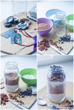 S.O.S. Brownie - Brownies dans un bocal (Cadeau Gourmand) - Cuisine Addict Mason Jar Meals, Meals In A Jar, Sos Recipe, Brownies In A Jar, Cookie Jars, Diy Kits, Cake Cookies, Crafts For Kids, Food And Drink