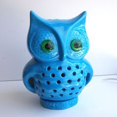 Ceramic Owl TV Lamp Vintage Design In Turquoise by fruitflypie, $59.99