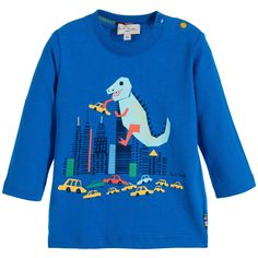 Paul Smith Junior Baby Boys Blue Dinosaur 'Marny' Cotton Jersey Top at Childrensalon.com