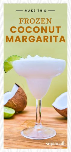Incredibly easy to mix up, all this margarita requires is reposado tequila, a few easy-to-get ingredients, ice and a blender. The bracing, icy blast that comes with each sip is powerful enough to give you goosebumps on a 110 degree day. #margarita #coconut #cocktails #cocktailrecipes