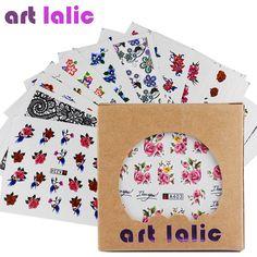 Artlalic 50 Sheets Watermark Nail Stickers Mix Designs Water Transfer Nail Art Decals DIY Salon Usage Decoration Tools