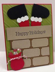 Santa in Chimney Art Stampin Up Christmas Card Kit (5 cards)