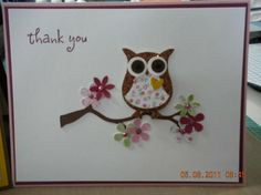 Owl week project by Inprogress - Cards and Paper Crafts at Splitcoaststampers Owl Punch Cards, Owl Card, Bird Cards, Stamping Up Cards, Card Tags, Card Kit, Scrapbook Cards, Scrapbook Albums, Paper Cards