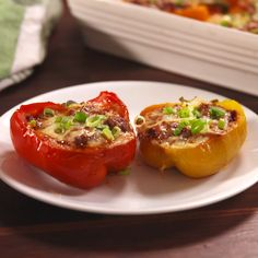 Sloppy joe stuffed peppers recipe low-carb recipes + meals м Sloppy Joe, Meat Recipes, Low Carb Recipes, Cooking Recipes, Paleo Dinner, Healthy Dinner Recipes, Healthy Foods To Eat, Healthy Eating, Food Videos