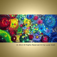 Modern Contemporary Wall Art Colorful CIRCLES by LUIZAVIZOLI, $399.00 -do alcohol/ink blending on a huge tile
