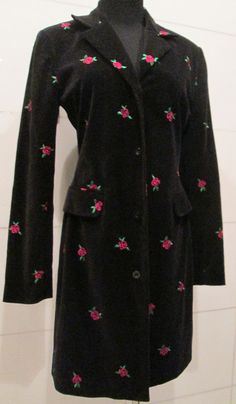 Lilly Pulitzer Velvet Rose Print Coat Jacket by MISSVINTAGE5000
