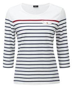 Damart Blue Stripe Sailor Neck T-Shirt, reference code W344. www.damart.co.uk