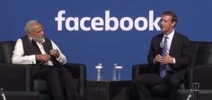 Premier indiano visita a sede do Facebook, em Menlo Park.