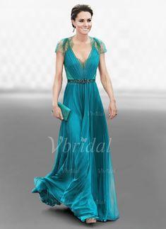 Robes de soirée -  103.46 - Forme Princesse Col V Longueur ras du sol  Mousseline Dentelle bd29bbc24824