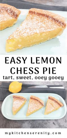 Lemon chess pie is an easy tart ooey gooey pie that bakes up with a sweet crispy candy like top crust chess pie is an old fashioned southern dessert that everybody loves lemonchesspierecipe easychesspie southernpierecipe dessertrecipe lemon pie bars Southern Desserts, Easy Desserts, Dessert Recipes, Ready Made Pie Crust, Lemon Chess Pie, Chocolate Chess Pie, Best Pie, Sweet Tooth, Food Photography