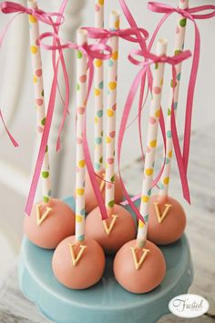 Cake Pops for this Flamingo Sip and See Party