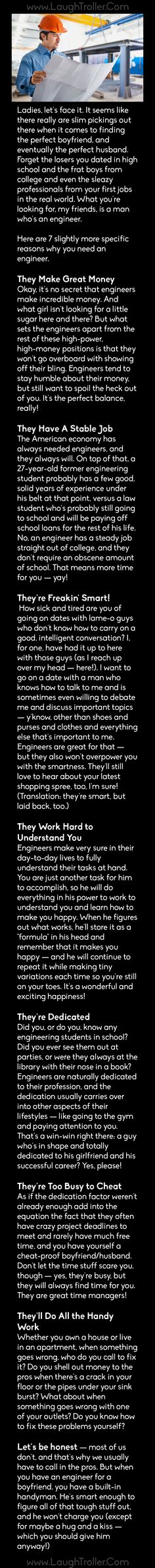 Some reasons why you need to date an engineer! - LaughTroller