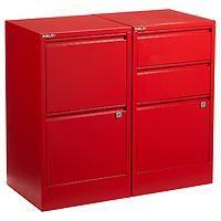 Bisley Red 2- & 3-Drawer Locking Filing Cabinets