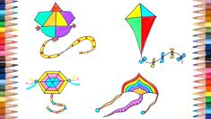 This drawing and coloring videos is about kite flying. We will draw and color four different types of colorful kites. Kites For Kids, Kite Flying, Step Kids, Drawing For Kids, Nursery Rhymes, Easy Drawings, Cool Art, Adjective Worksheet, Creative