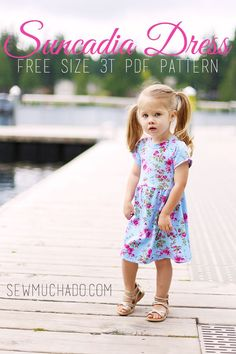 Sew an comfortable and cute knit Suncadia Dress with this free pattern, sized 3T!  Download contains pattern pieces only. For pattern instructions, please visit this post:  Suncadia Dress Free Pattern Instructions