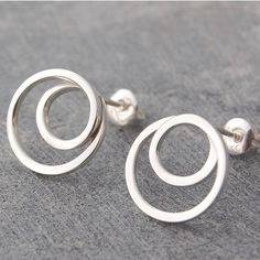 Round Sterling Silver Vortex Stud Earrings