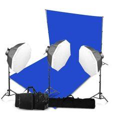 #photography studio blue lighting shoot with lighting  screen