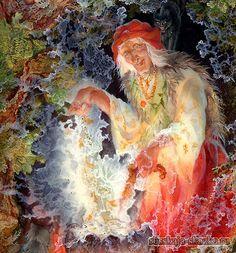 """Сказка """"Марья Моревна"""" http://russkaja-skazka.ru/marya-morevna/ — Здравствуй, Иван-царевич! Почто пришел — по своей доброй воле аль по нужде? — Пришел заслужить у тебя богатырского коня. — Изволь, царевич! У меня ведь не год служить, а всего-то три дня; если упасешь моих кобылиц — дам тебе богатырского коня, а если нет, то не гневайся — торчать твоей голове на последнем шесте. #сказки #картинки #МарьяМоревна #art #Russia #Россия #добро #дети #иллюстрации #paint #картины #художник #RussianLac"""