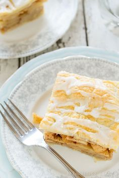 Homemade danish pastry with loads of apples baked inside. The almond glaze is a must on these apple pie bars.