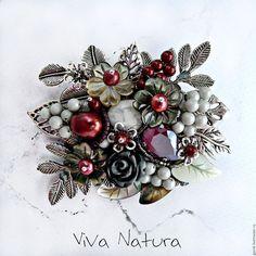 Брошь-букет. Бордовый, серебристый, серый. Винтажный стиль. Подарок женщине, девушке.