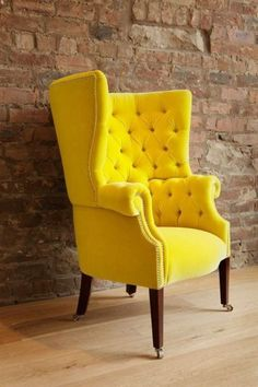 Yellow library chair with multicoloured deep buttoning.A bold chair creating a daramtic look to the elegant living room Chair Design, Furniture Design, Deco Furniture, Plywood Furniture, Modern Furniture, Yellow Sofa, Yellow Chairs, Yellow Armchair, Yellow Table