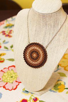 Brown Circle Pendant - Plastic Perler Bead Necklace