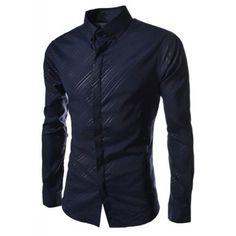 Elegant Turn-Down Collar Long Sleeve Men's Button-Down Shirt #men, #hats, #watches, #belts, #fashion, #style