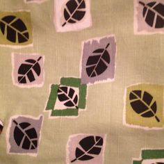 Barkcloth Curtains Cafe Mid Century Modern Green Leaves Tiki Trailer Decor 1950s…