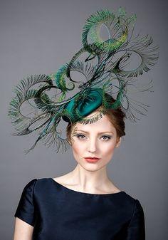 Rachel Trevor Morgan AW 2014 R14W14 - Peacock silk pillbox with peacock feather curls