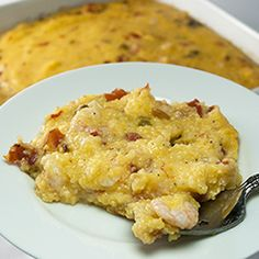 Aunt Wendy's Shrimp 'n Grits Casserole, a Southern classic that is the perfect centerpiece of any meal. Seafood Casserole Recipes, Cajun Recipes, Fish Recipes, Brunch Recipes, Seafood Recipes, Cooking Recipes, Yummy Recipes, How To Cook Grits, Grits Casserole