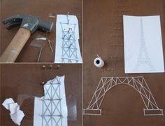 Torre Eiffel de barbante - DIY